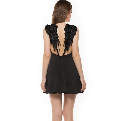 TOMTOP / Sexy Women Dress Lace Angel Wings Dress Spaghetti Strap Backless Beach Slim Dress Black