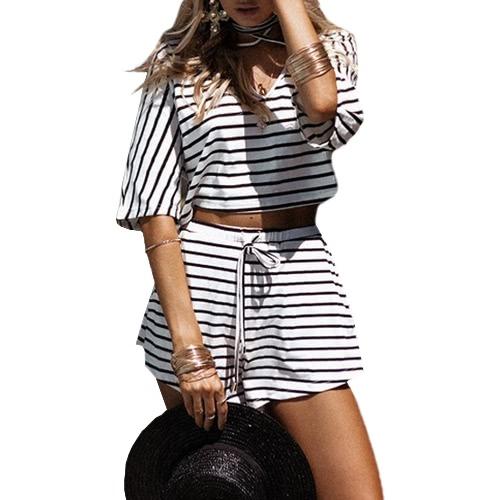 Women Two-piece Set Stripe Jumpsuit Romper Strap Bow Waist Tie Overalls Summer Beach Playsuit White