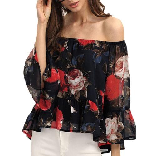 Mulheres Chiffon blusa fora do ombro Slash pescoço Rose floral impressão mangas Flare Tops Preto