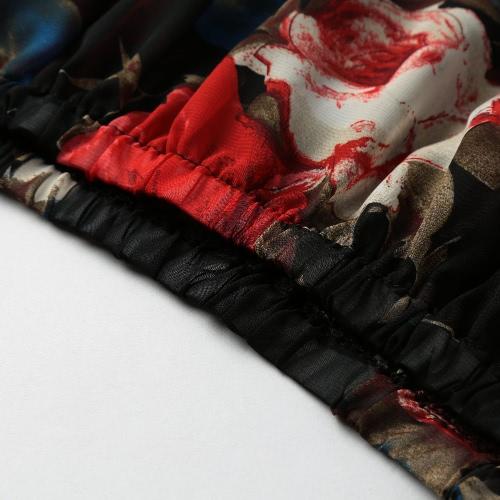 Women Chiffon Blouse Off Shoulder Slash Neck Rose Floral Print Flare Sleeve Tops Tee Shirt Black