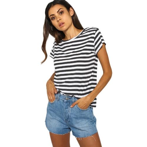Nowa moda Koszulka damska Top Striped O-Neck Krótkie rękawy Casual Luźna Bluzka Białe