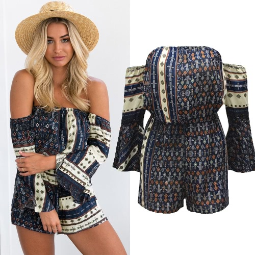 Sexy Women Off Shoulder Jumpsuit Bohemian Vintage Print Flare Sleeve Casual Short Playsuit Rompers Dark Blue