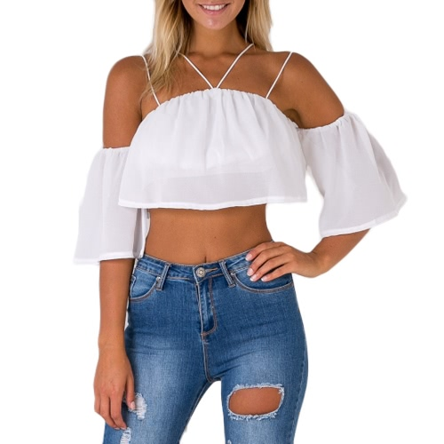 Sexy Fashion Women Loose Crop Top Solid Off Shoulder Backless Strappy Mangas curtas Blusa casual Tank Tops Branco