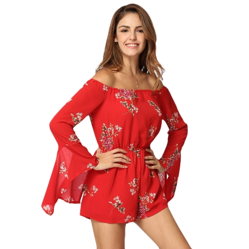 Sexy Women Jumpsuit Floral Print Off Shoulder Backless Manga comprida Casual Casual férias Combos vermelhos Vermelho