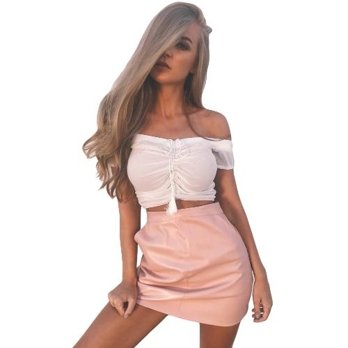 Mujer Sexy Mesh Crop Top Semi-Sheer Off hombro acanalado borla con cordón corto Top negro / blanco