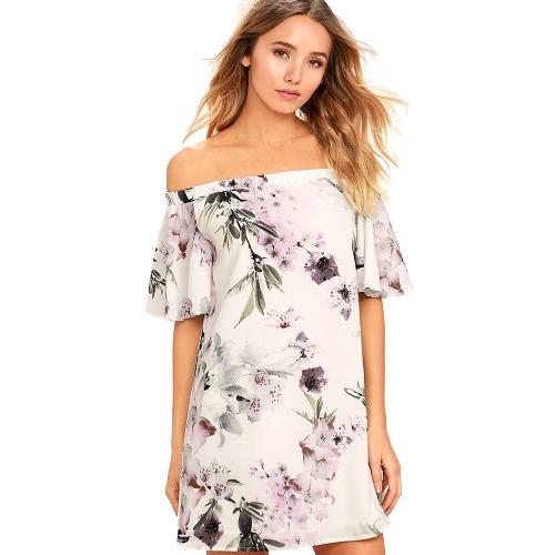 Kobiety Sukienka Kwiatowy Druk Off Łyżwiarka Pasek elastyczny Slash Neck Ruffle Sleeve Elegancki Party One-Piece White