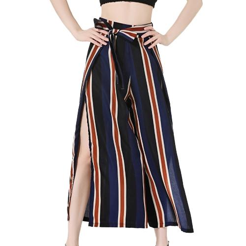Mulheres Pernas Largas Calças Cropped Side Slit Contraste Imprimir Listrado Voltar Zipper Flared Loose Casual Trousers