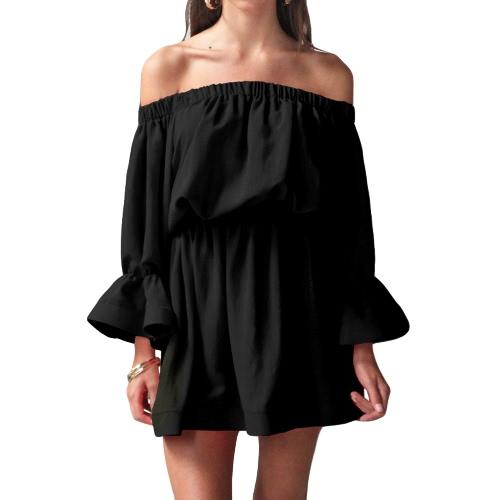 Sexy Frauen aus Schulter Kleid Flare Ärmel Slash Neck Elastische Taille Sundress Beach Mini Kleid Schwarz / Weiß / Rose