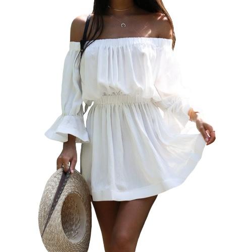 Mujeres atractivas fuera del vestido de hombro mangas de la llamarada Slash Neck elástico de la playa Sundress mini vestido negro / blanco / rosa