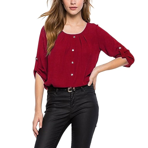 Frauen Casual Bluse Drei Viertel Roll Up Ärmel Ruched O Neck Buttons Breathable OL Tops Workday Pullover Shirt