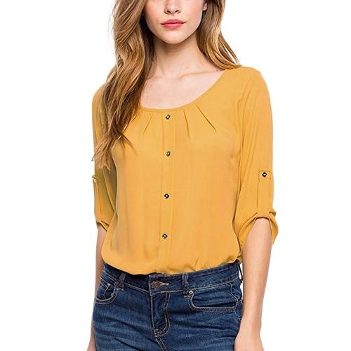 Blusa casual de las mujeres tres cuartos arrugan las mangas Ruched los botones del cuello de O OL respiran la camisa del suéter del día de trabajo de las tapas
