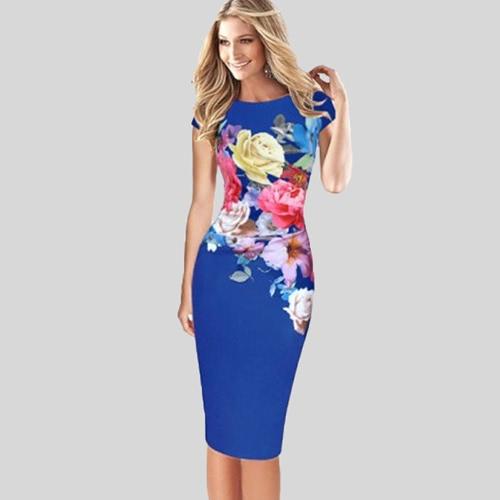 Elegante vestido de medias mujeres vestido floral Bodycon manga corta acanalado trabajo formal vestido de lápiz negro / azul / verde