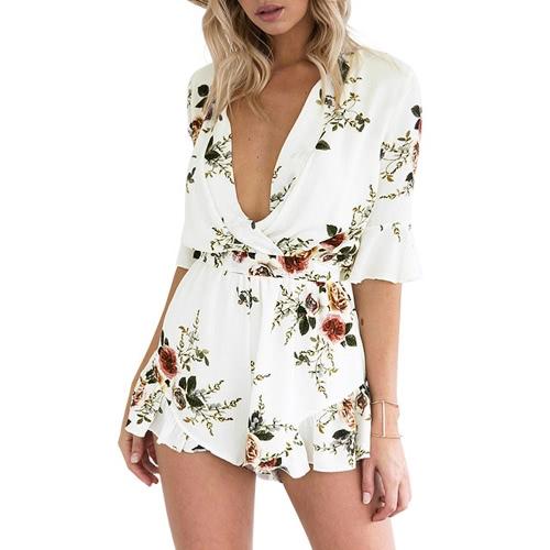 Vestido de cuello profundo de cuello en V de mujer sexy con estampado de flores de cintura elástica de cintura media playera Rompers blanco