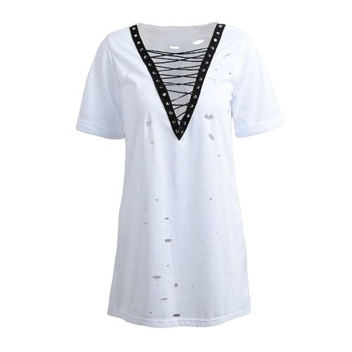 Mujeres ata para arriba vestido atractivo de la camiseta Vestido profundo del V-Cuello del cuello de la manga corta ocasional del verano Negro / blanco