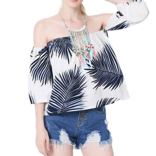 Novas mulheres sexy blusa folhas impressão off ombro backless mangas curtas casuais superior branco / azul escuro