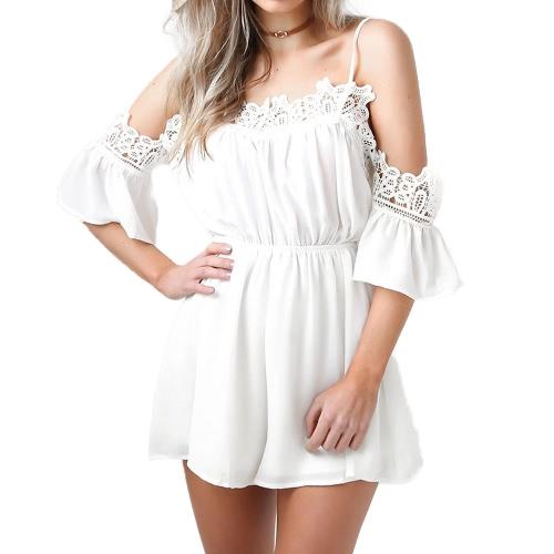 Mujeres de hombro gasa traje Crocheted Lace V cuello elástico cintura suelta Rompers Blusa Blanca / Rosa