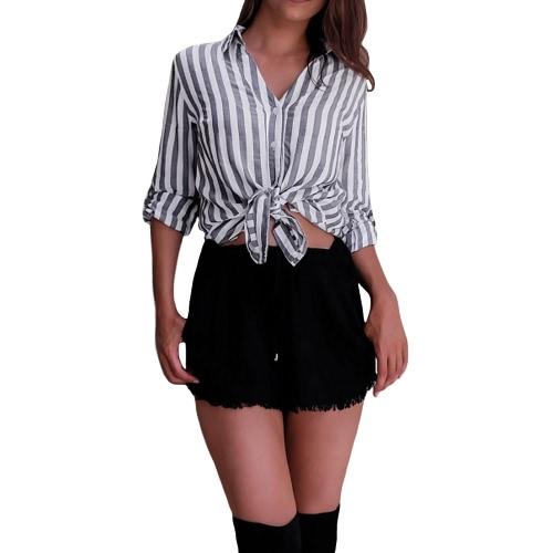 Novas mulheres sexy Stripe blusa Turn-down colar de manga longa escritório camisa de trabalho Casual Top Grey