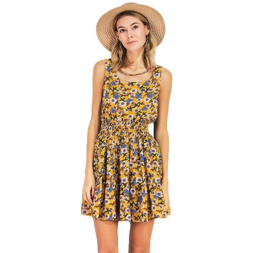 Neue Sommer Frauen Chiffon Blumenkleid Elastische Taille Ärmelloses Party Mini Kleid Gelb