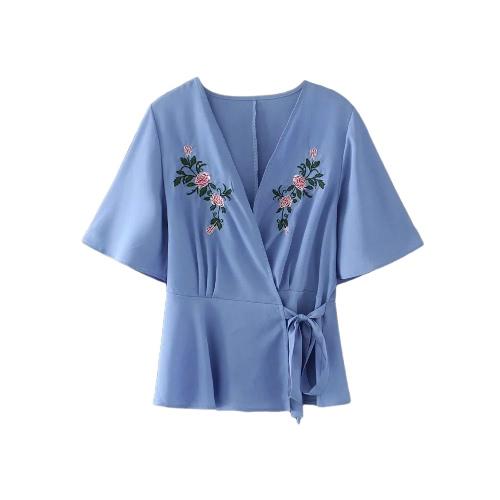 Sexy Frauen Blumenstickerei Kreuz V Neck Shirt Bluse Kurzarm Casual Loose Top Blue
