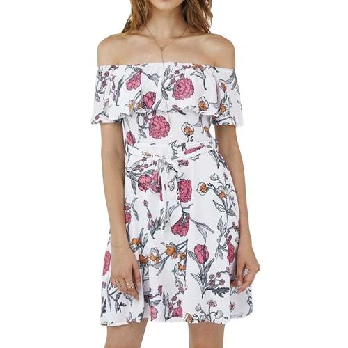 Reizvoller Frauen-Minikleid-Weinlese-Blumendruck-weg vom Schulter-Kurzschluss-Hülsen-Gürtel-beiläufiger Strand-A - zeichnen Sie Kleid-Weiß