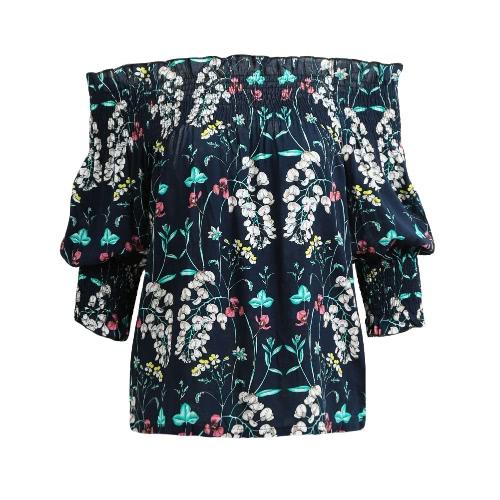 Nuevas mujeres atractivas de la camisa de la blusa del hombro Shirred Slash cuello 3/4 manga informal suelta azul / blanco