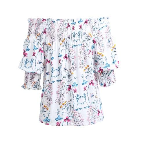 TOMTOP / Novas Mulheres Sexy Off Blusa Camisa Ombro Shirred Slash Pescoço 3/4 Luva Casual Loose Top Azul Escuro / Branco