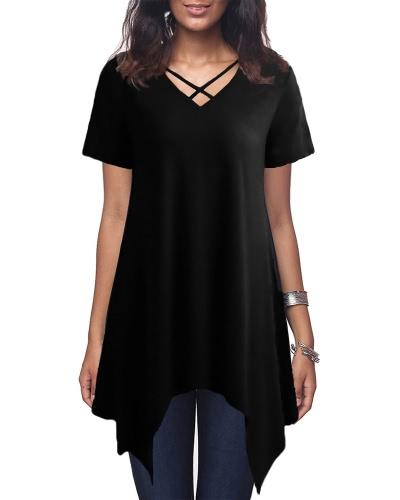 Sexy Frauen Asymmetrisches T-Shirt Criss Cross V Neck Kurzarm Bluse Solid Loose Casual Tunika Top Schwarz / Grau / Army Green
