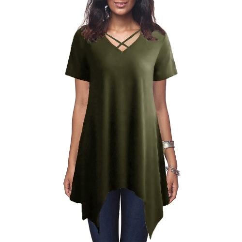 Mujeres Atractivas Camiseta Asimétrica Criss Cruz V cuello manga corta Blusa Solid Loose Casual túnica superior Negro / Gris / Verde Ejército