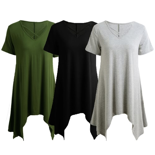Sexy Women Asymmetric T-Shirt Criss Cross V Neck Short Sleeve Blouse Solid Loose Casual Tunic Top Black/Grey/Army Green