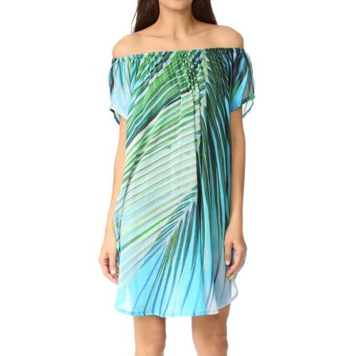 Women Summer Off Shoulder Dress Chiffon Leaf Print Asymmetric Hem Casual Loose Beach Dress Kaftan Green