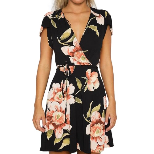 Nuevo vestido de la rebeca de las mujeres de la manera Vestido floral de la impresión de la impresión del Uno mismo-lazo Laciness mini vestido negro