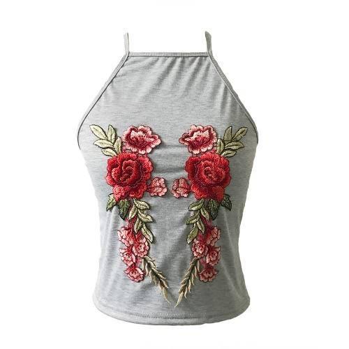 Sexy Blumenstickerei ärmelloses verstellbares Spaghetti-Trägershirt