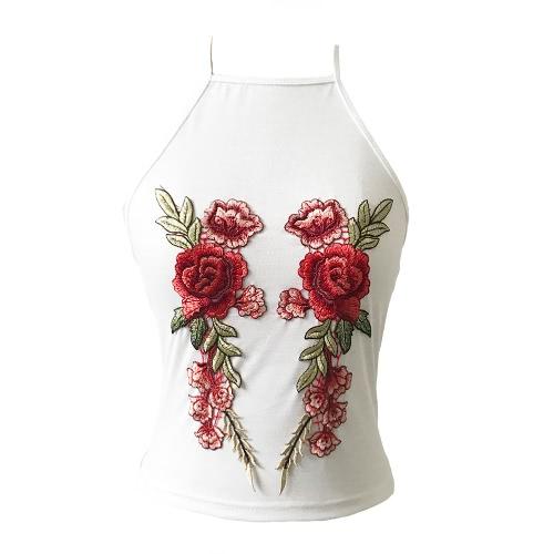 Sexy bordado floral sin mangas ajustable correa de espagueti camiseta sin mangas