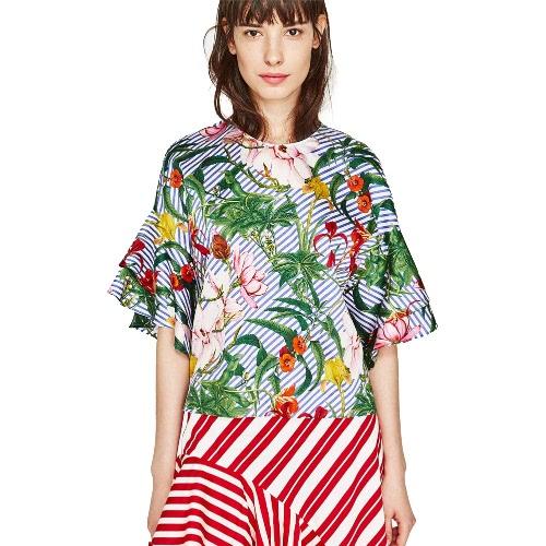 Moda de rayas florales impresión volante manga cuello redondo cabido tropical playa blusa