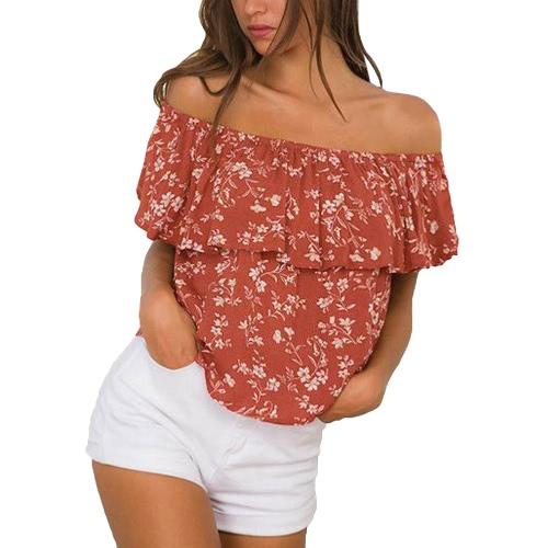 Nowe seksowne kobiety off ramionę bluzki kwiatowe wydruki ruffle krótki rękaw Summer Beach luźne bluzki niebieski / pomarańczowy