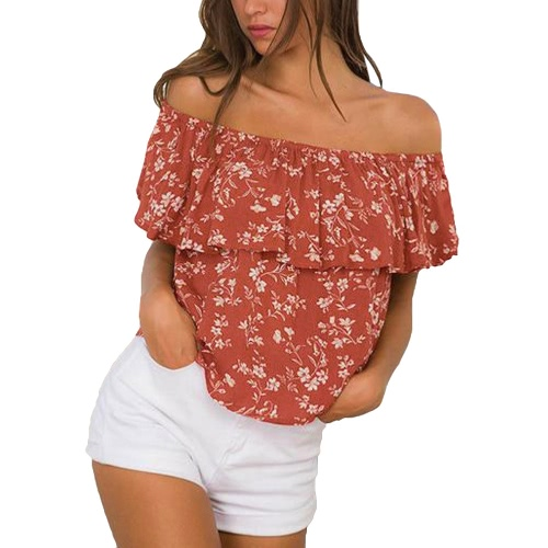 Sexy Off hombro de flores de impresión volantes de manga corta mujer de blusa de verano