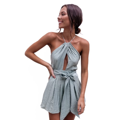 Kobiety Playsuit Solid Halter Neck Drape Krzyż ponad Strappy Backless Sexy Beach Holiday Rompers Grey