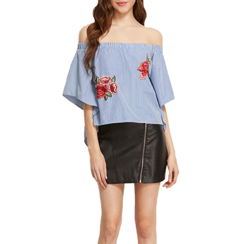 Fashion Off Shoulder Slash Neck Blusa das mulheres ocasionais