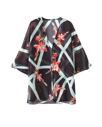 Vintage Women Chiffon Beach Kimono Floral Irregular Geometric Print Open Front Loose Thin Boho Cardigan Black