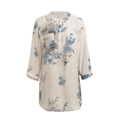 Spring Summer Women Vintage Blusa impressa floral Elegante 3/4 Sleeve Loose Casual Long Top Shirt Azul / Rosa