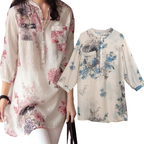 Spring Summer Women Vintage Floral Printed Blouse Elegant 3/4 Sleeve Loose Casual Long Top Shirt Blue/Pink