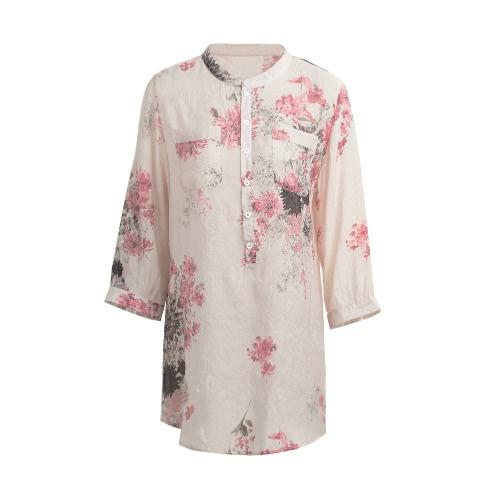 Primavera Verano Mujeres Vintage Floral Impreso Blusa Elegante 3/4 manga suelta Casual camisa de manga larga Azul / Rosa