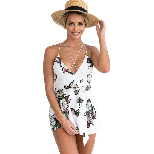 Sexy Women Floral Print V-Neck Backless Short Rompers