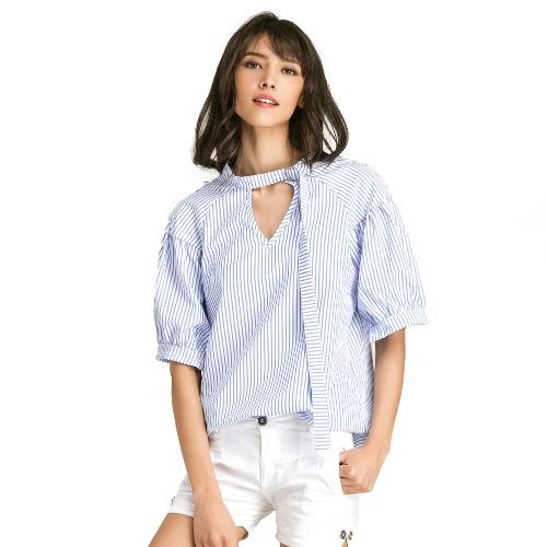 Mulheres Blusa de grande tamanho Impressão de raias de cores sólidas V Puff Raglan Sleeve Tops Casual oversized Branco / Azul