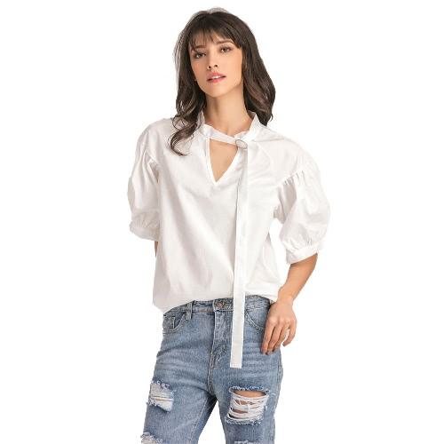 Verano de color sólido de rayas Imprimir V Puff Oversized mujer informal Blusa