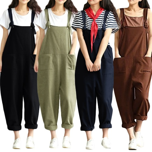 New Women Loose Jumpsuit Overalls Solid Sleeveless Pockets Wide Legs Casual Dungarees Playsuit Rompers