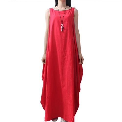 Frauen Maxi Ärmelloses Tunika-Kleid Plus Size Taschen O Neck Solid Loose Mori Swing Tank Kleid Weiß / Rot