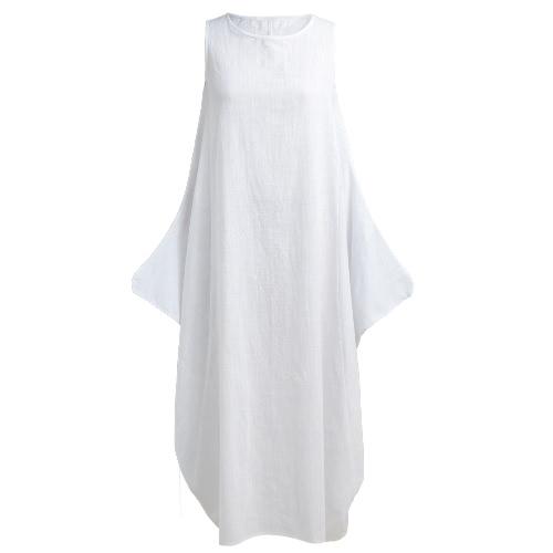Женщины Maxi без рукавов Туника платье плюс размер карманы O шеи сплошной Loose Mori Swing танк платье белый / красный фото