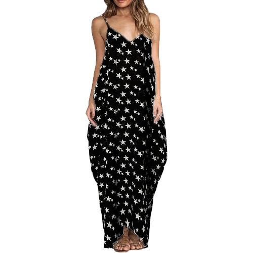 Sexy Frauen Boho Blumendruck Kleid Spaghetti Strap Bohemian Strand Kleid Loose Long Maxi Plus Size Kleid
