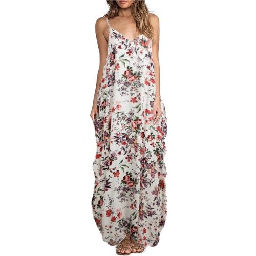Mujeres atractivas Boho vestido de impresión floral correa de espagueti vestido de playa bohemia suelta largo Maxi vestido de tamaño más